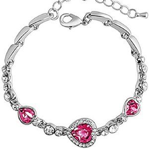 Jewelry - New Pink Crystal Heart Bracelet Silver Titanic